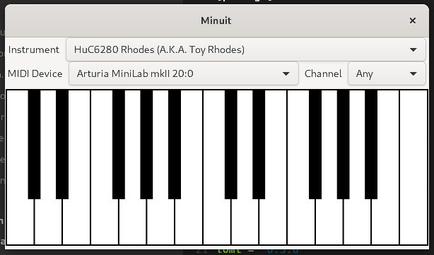 Basic UI for Minuit showing the piano widget and instrument selection